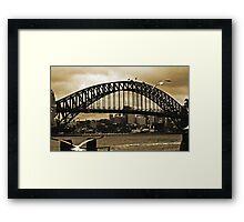 Sydney Harbour Bridge In Sepia Framed Print