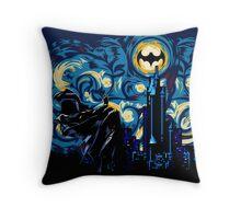 Dark Blue Starry Knight Abstract Throw Pillow