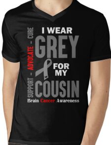 I Wear Grey For My Cousin (Brain Cancer Awareness) Mens V-Neck T-Shirt