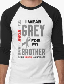 I Wear Grey For My Brother (Brain Cancer Awareness) Men's Baseball ¾ T-Shirt
