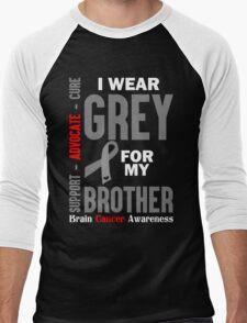 I Wear Grey For My Brother (Brain Cancer Awareness) Men's Baseball ¾ T-Shirt