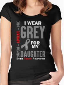 I Wear Grey For My Daughter (Brain Cancer Awareness) Women's Fitted Scoop T-Shirt