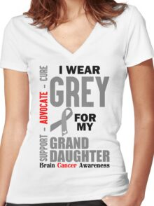 I Wear Grey For My Granddaughter (Brain Cancer Awareness) Women's Fitted V-Neck T-Shirt