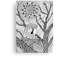 Arara bird and sun in nankin ink Canvas Print