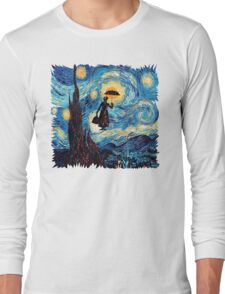 The Flying Lady with an Umbrella Oil Painting Long Sleeve T-Shirt
