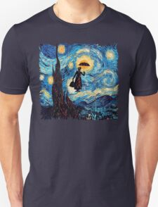 The Flying Lady with an Umbrella Oil Painting T-Shirt