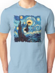 The Flying Lady with an Umbrella Oil Painting Unisex T-Shirt