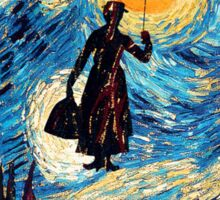 The Flying Lady with an Umbrella Oil Painting Sticker
