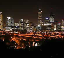 Perth City By Night by Barry  Dux