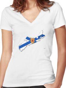 Nova Scotia Flag Map  Women's Fitted V-Neck T-Shirt