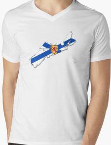Nova Scotia Flag Map  Mens V-Neck T-Shirt