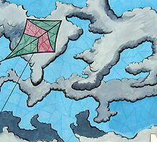 259 - KITE IN THE CLOUDS - DAVE EDWARDS - MIXED MEDIA - 2009 by BLYTHART