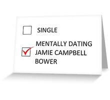 RELATIONSHIP STATUS - jamie campbell bower Greeting Card