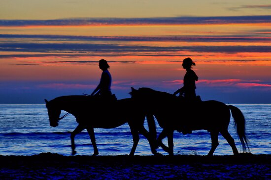 Sunset Horse Riding by Jo Nijenhuis