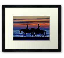 Sunset Horse Riding Framed Print
