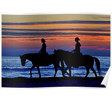 Sunset Horse Riding Poster