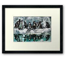 Penguins on Ice Framed Print