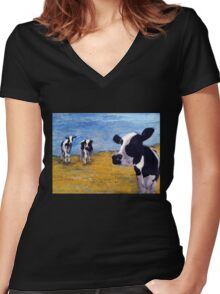 Cow World Women's Fitted V-Neck T-Shirt