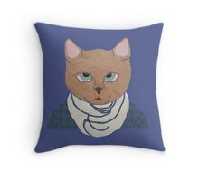 Cat in Flannel Throw Pillow