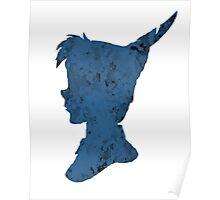 Watercolor Peter Pan Disney Character Shape Dark Blue Splash Design Poster