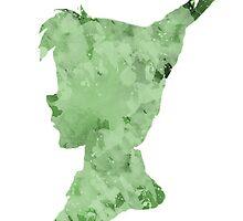 Peter Pan Watercolor Splash Design Green by Alyssa  Clark