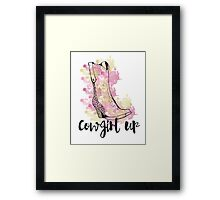 Cowgirl Up! Inspirational Quote Texas South Western Country Farmer Farm Barn Pink Yellow Gold Sun Animals Framed Print