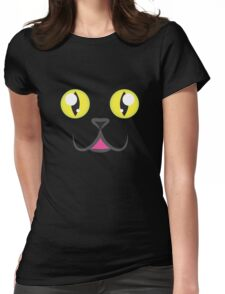 Black Kitty Face Womens Fitted T-Shirt