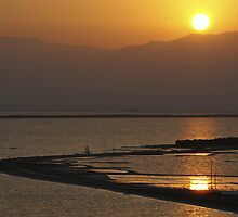 Sun rise over the Dead Sea by Moshe Cohen