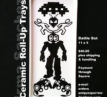 Ceramic Roll-Up Tray: Battle Bot  by uniquesparrow