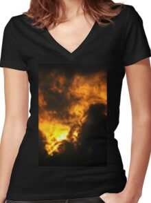 Cloudy Sunrise Women's Fitted V-Neck T-Shirt