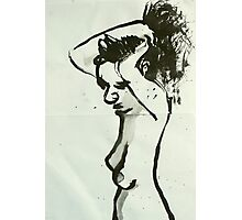 manu hair up black ink Photographic Print