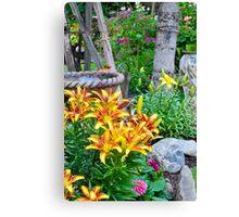 Lily Garden Scene Canvas Print