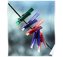 Pegs on a line Poster