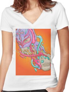Happily melting Rey Mysterio Women's Fitted V-Neck T-Shirt