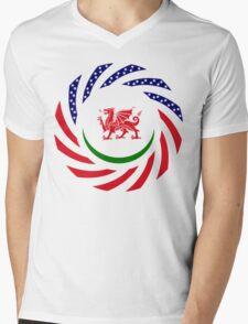 Welsh American Multinational Patriot Flag Series Mens V-Neck T-Shirt
