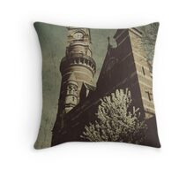 clock tower in spring Throw Pillow