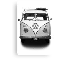 Volkswagen Kombi Newsprint BW Canvas Print