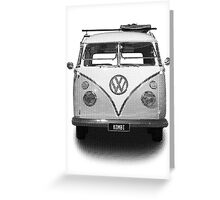 Volkswagen Kombi Newsprint BW Greeting Card