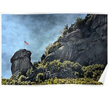 Flag at Chimney Rock Poster