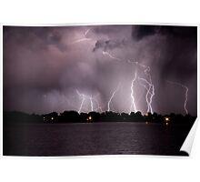 Lake Lightning Storm Poster