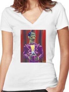 Zombie Magician Women's Fitted V-Neck T-Shirt