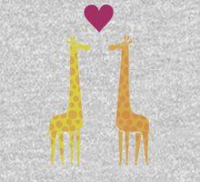 Cute cartoon giraffe couple in Love (Purple Edition) One Piece - Long Sleeve