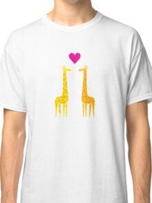 Cute cartoon giraffe couple in Love (Purple Edition) Classic T-Shirt