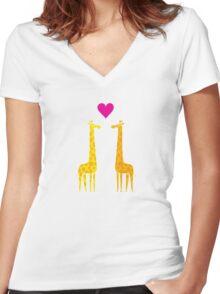 Cute cartoon giraffe couple in Love (Purple Edition) Women's Fitted V-Neck T-Shirt