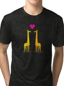 Cute cartoon giraffe couple in Love (Purple Edition) Tri-blend T-Shirt