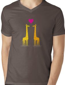 Cute cartoon giraffe couple in Love (Purple Edition) Mens V-Neck T-Shirt