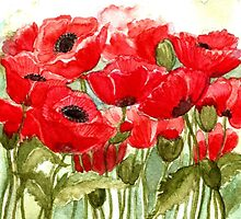 IN LOVE WITH BEAUTIFUL ROMANTIC RED POPPIES  by RubaiDesign