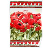 IN LOVE WITH BEAUTIFUL ROMANTIC RED POPPIES  Poster