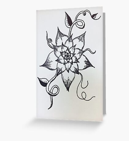 Black and White Flower Sketch Greeting Card