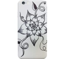 Black and White Flower Sketch iPhone Case/Skin